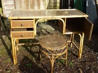 Cane & Bamboo Dressing Table & Stool