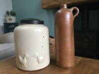Farmhouse storage jar and old gin bottle, ideal for a kitchen