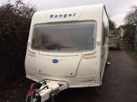 BAILEY RANGER 510/4 TOURING CARAVAN 4 BIRTH ,BAY WINDOW,BONE DRY AND SOLID WITH FREE EXTRAS 2007