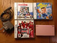 PINK NINTENDO DS LITE & 3 x games