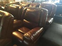 Quality 3+1+1 brown leather reclining suite ONLY £420