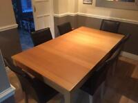 IKEA Bjursta oak veneer extending table and 6 faux leather chairs