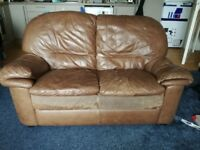 Brown leather sofas. (2 seater + 1 seater + footstool) FREE TO ANYONE