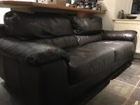 Brown real leather three seater sofa in good condition - FREE!