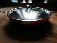 "John Lewis Copper Triply Lidded Frying Pan 12"" Diameter"