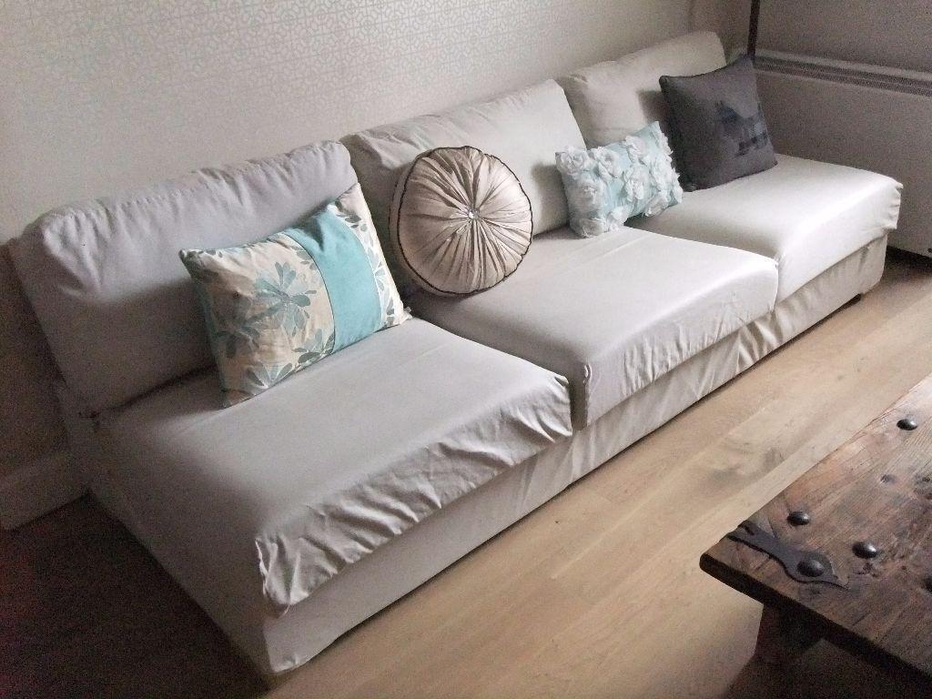Large Sofa Natural Beige Slot Together Excellent Condition