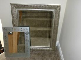 LARGE SILVER MIRROR AND A SMALLER MIRROR