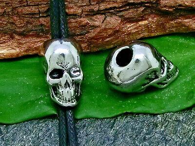 Metallperlen Spacer Totenkopf für Bänder 4mm 10 Stück Großlochperlen SERAJOSY