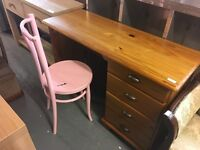 NICE PINE DESK WITH A CHAIR BOTH CAN BE PAINTED