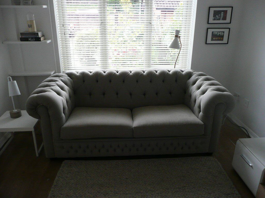 Saxon Lovely Sofas 3 Seater Chesterfield In Grey Fabric With Chrome Stud Detail