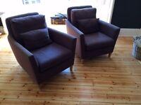 2 Dark grey John Lewis, Ercol, living room chairs