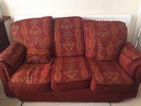 Three Piece Maroon Living Room Sofa Set - One Three Seater & Two Single Sofas With Stool & Cushions