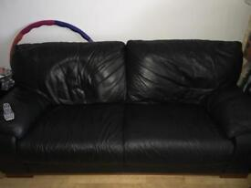 Two seater and three seater soft leather settees £150