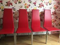 4 red leather dining room chairs