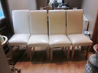 four quality cream leather full back chairs bought from livingroom (silver burn)