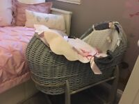 Grey Moses basket Clair de lune with stand and mattress ( pink cover not included)
