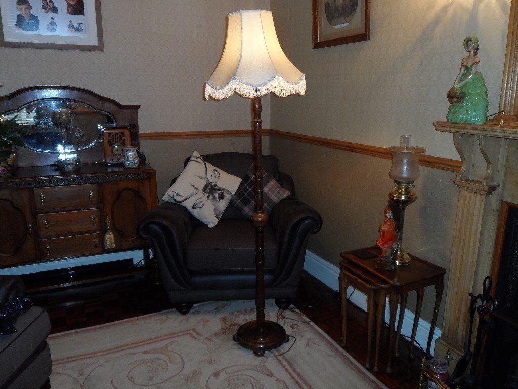 Vintage oak standard floor lamp
