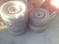 13 inch wheels/rims. Good for trailer, will require new tyres. £15 for the lot