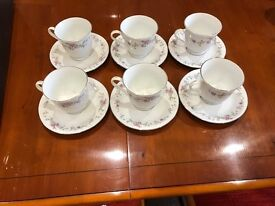 Set of Six China Cups and Saucers