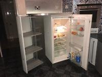 Integrated tall fridge and Larder Cuboard unit in Pale Blue