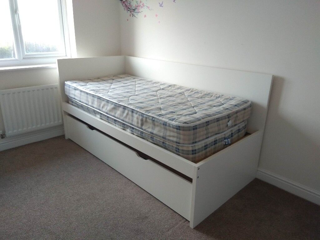 Ikea Odda Flaxa White Bed With Pull Out Trundle Bed With