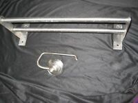 IKEA Gruntal Stainless Steel Towel Rail and Toilet Roll Holder