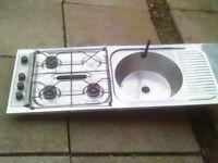 spinflo 3 burner stainless steel sink /drainer