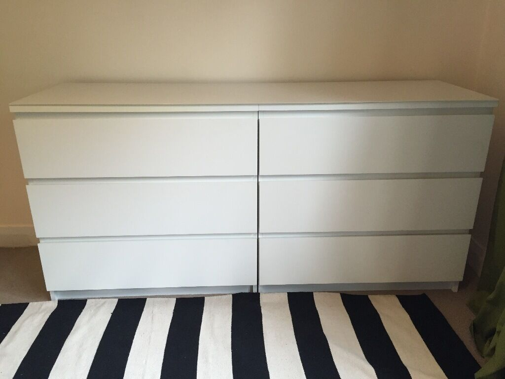2 ikea malm chest of 3 drawers and malm glass top in - Malm kommode glas ...