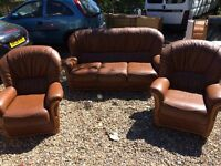 Leather sofa and two arm chairs good condition delivery possible£150