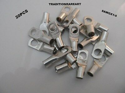 20 Pcs 8 Awgx14 Tinned Copper Lug Battery Cable Connector Terminal