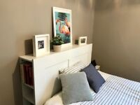 Double bed frame with headboard and storage