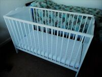 White cot with mattress and moses basket with rocking stand