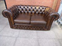Thomas Lloyd Tan/Brown Leather Chesterfield Two Seater Sofa
