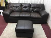 Brown leather large 3 Seater sofa with storage pouffe
