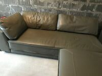 Grey Leather 3 seater Sofa with Chaise/Pouffe VGC