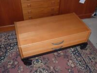 Ikea pine wood low table with drawers