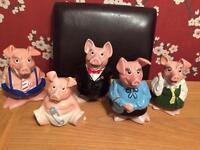 Set 5 wade pigs in ex condition