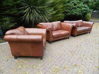Nu-Buck Brown Leather 3+2+1 Suite