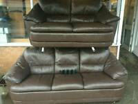 3+2 seater leather couches