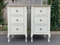 Pair of Laura Ashley Rosalind Dove Grey Chest of 3 Drawers –– Excellent Condition