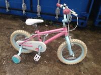 Girls pink bike 14 inch tyres only used a few times with stabilisers excellent condition