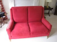 Duresta 2 seater Pamplona settee in Cranberry red woven material, excellent condition.