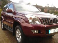 2003 TOYOTA LANDCRUISER LC3 D-4D AUTO BURGUNDY RED LOW MILEAGE!!!