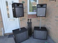 Peavey speakers for sale. 2 sub woofers and 2 upper speakers for sale . 4 ohms. Stands included.