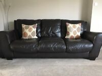 Good condition - Brown leather sofas 3 and 2 seater