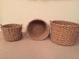 3 x Bamboo baskets