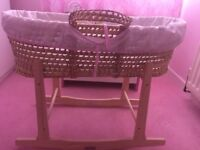 Baby girl Claire De Lune Moses basket & wooden rocking stand.