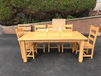 ONLY £300 ONO Solid Oak dining table with 8 chairs