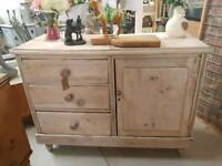 Antique pine sideboard/cupboard with drawers