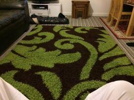 Green paterned carpet